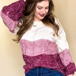 Sweetheart Pink Oversized Color Block Sweater